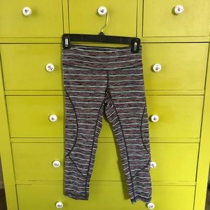 Striped cropped workout pant